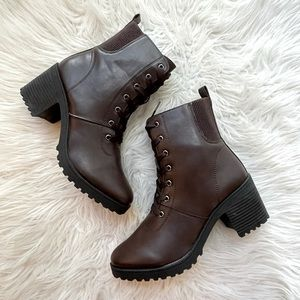 Espresso Lace Up Heeled Booties